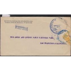 O) 1926 NICARAGUA, COVER - BLUEFIELDS, STAMP 10 CENTAVOS DE CORDOBA- ORANGE, BIS