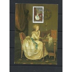 O) 1988 LIECHTENSTEIN, THE LETTER - CORNELIA EBERLE, MAXIMUM CARD, XF