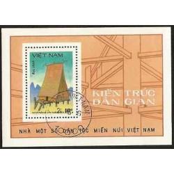 B)1986 VIETNAM, TRADITIONAL ARCHITECTURE OF VIETNAMESE , ETHNIC, EMPTY UPLANDS,