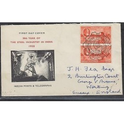 O) 1958 INDIA, STEEL INDUSTRY, FDC USED TO ENGLAND, XF