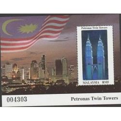 o) 2014 MALAYSIA, ARCHITECTURE, PETRONAS TWIN TOWERS, HOLOGRAM, SOUVENIR MNH