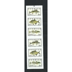 O) 2001 SWEDEN, FISHES, PAINTING OF WILHELM VON WRIGHT, ADHESIVES - STICKERS, XF