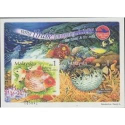 O) 2002 MALAYSIA, SOUVENIR IMPERFORATED, MARINE LIFE, FISH, THE TAME AND THE WIL