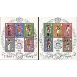 B)1974 ANTIGUA, MEN, UNIFORMS, SHIELDS, COAT OF ARMS, MILITARY UNIFORMS, SET