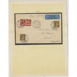 o)1929 SWITZERLAND FFC BERN TO ZURICH NICE COVER WITH BLUE LABEL AIRMAIL