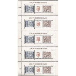 B)1976 AUSTRIA, OLD BUILDINGS, CITY THEATRE'S , SHEET OF 5 X 200 JAHRE BURGTHEAT