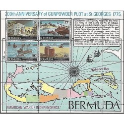 B)1775 BERMUDA, MAP, SEA, BOAT, WAR, 200TH ANNIVERSARY OF GUNPOWDER PLOT AT