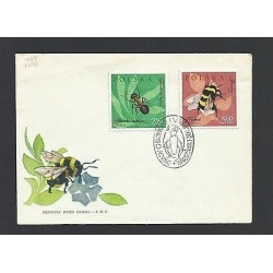 O) 1961 POLAND, INSECTS, ANT -FORMICIDAE, BEE - ECTOGNATHA, FDC XF, SLIGHT TONED