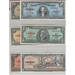 rO)1958 CARIBE,DIFFERENT YEARS. SET OF BANK NOTES, REPUBLIC 1, 5, 10, 20, 50 AND