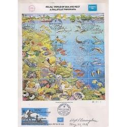 O 1986 PALAU, AMERIPEX 1986, MARINE LIFE, TORTOISE - TESTUDINES, SEA COW - TRI