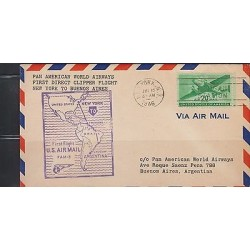 O) 1946 USA - UNITED STATES, FIRST FLIGHT, MORGAN STATION, COVER TO ARGENTINA, X