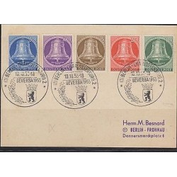 E) 1953 GERMANY, FIRST DAY CARD BELL SET BELL