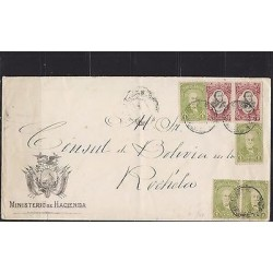E) 1908 BOLIVIA, NICE LARGE ENVELOPE CIRCULATED, TO FRANCE VIA CALLO XF