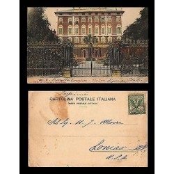 E)1911 ITALY, VILLA SERRA, POSTCARD TO USA