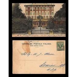 E)1911 ITALY, VILLA SERRA, POSTCARD TO USA