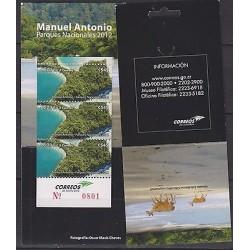 E)2012 COSTA RICA, MANUEL ANTONIO, NATIONAL PARKS, BEACH, DEER, SOUVENIR SHEET