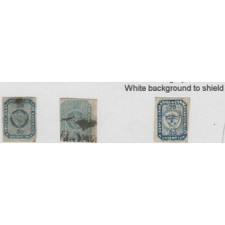 O) 1860 COLOMBIA, 20 CENTAVOS BLUE, SG 5, 20 CENTAVOS-WHITE BACKGROUND TO SHIELD