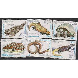 G)1987 CAMBODIA, REPTILES, TURTTLE-SNAKES, SET OF 6, MNH