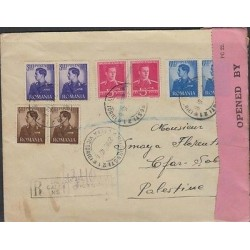 o) 1940 ROMANIA, KING MICHAEL ROYALTY, CENSORSHIP MARK, TO PALESTINE, XF