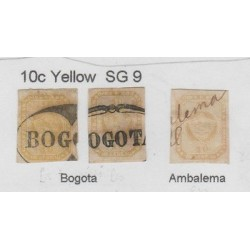 O) 1860 COLOMBIA, 10C YELLOW SG 9, PINTED BY AYALA Y MEDRANO, XF-