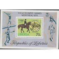 O) 1976 LIBERIA-AFRICA, HORSE RIDING-EQUITATION, XXI OLYMPIC GAMES MONTREAL, SOU