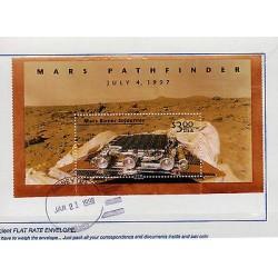 G)1998 USA, MARS PATHFINDER-MARS ROVER SOJOURNER, S/S, SIDNEY RECEIPT SEAL, FRAG