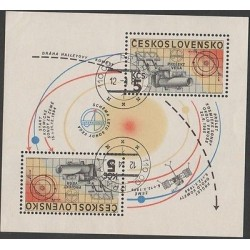 O) 1985 CZECHOSLOVAKIA, TELESCOPE, SOLAR SYSTEM, SOUVENIR SLIGHT TONED, MNH