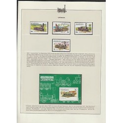 O) 1983 GRENADA, TRAIN, HISTORY LOCOMOTIVE 1825 TO 1859, SET AND SOUVENIR MNH