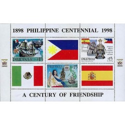 G)1998 PHILIPPINES, CARVEL-MEXICAN, PHILIPPINES & SPANISH FLAGS-MAP, A CENTURY O