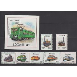 O) 1991 TANZANIA, ELECTRIC TRAIN, LOCOMOTIVE, SET AND SOUVENIR MNH