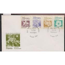 O) 1983 NICARAGUA, FLOWERS, ORCHID - SOBRELIA, TABEBUIA, SENECIO, THUMBERGIA, FD
