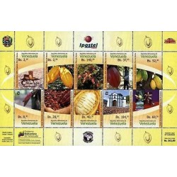 RE)2015 VENEZUELA, VENEZUELAN COCOA, CHOCOLAT, ORGANIC, SOUVENIR SHEET OF 10, MN