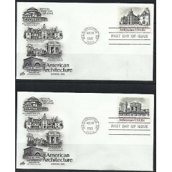O) 1981 UNITED STATES - USA, AMERICAN ARCHITECTURE, BY 2 FDC XF