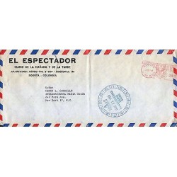 G)1963 COLOMBIA, CIRCULATED NEWSPAPER COVER FROM BOGOTA TO N.Y., USA, XF