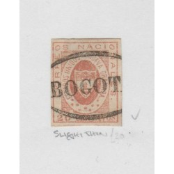 O) 1861 COLOMBIA, 20 CENTAVOS, RED SG 14, BOGOTA SEAL, MINT