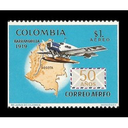 E)1969 COLOMBIA, BARRANQUILLA 1919, 50 YEARS OF AIRMAIL, MAP, AIRPLANE, AVIANCA