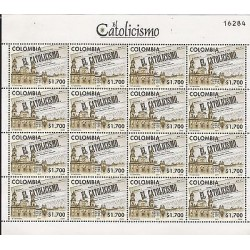 E)2011 COLOMBIA, THE CATHOLICISM, NEWSPAPER, CITY,CHURCH, BLOCK OF 16, MNH