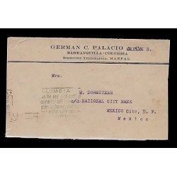 E)1934 COLOMBIA, CLASSIC CIRCULATED COVER FROM BARRANQUILLA TO MEXICO D.F, XF