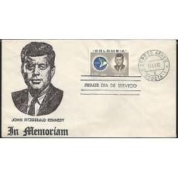 E)1963 COLOMBIA, JOHN F KENNEDY, COMMEMORATION, FDC