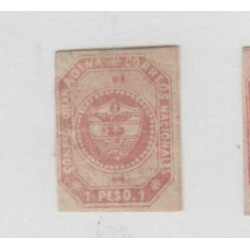 O) 1859 COLOMBIA, PRINTED MARTINEZ BROTHER, 1 PESO CARMINE, SG 6, 16.500 PRINTED