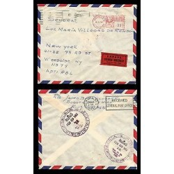 E)1969 COLOMBIA, CLASSIC CIRCULATED COVER FROM BOGOTA TO NEW YORK CITY, XF