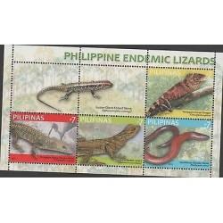 O) 2011 PHILIPPINES, REPTILES, LIZARDS, SOUVENIR MNH