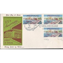 E)1967 PHILIPPINES, 65TH ANNIVERSARY BUREAU OF POST, STAMPS, FDC