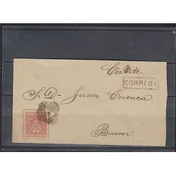 O) 1898 PHILIPPINES, PROVISIONAL AGUINALDO,2 CENTS RED,SINGLE FRANKING TIED,BY R