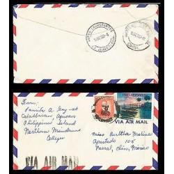 E)1963 PHILIPPINES, CAYETANO ARELLANO, SUNSET MANILA BAY, CIRCULATED COVER TO ME