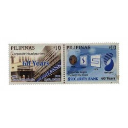 E) 2011 PHILIPPINES, CORPORATE HEADQUEATERS, 60 YEARS, SECURITY BANK, LOGOS, MNH