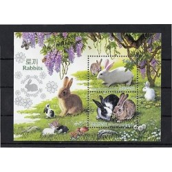 G)2011 KOREA, ZODIAC YEAR OF RABBIT, MUSHROOMS-BEES, S/S, MNH