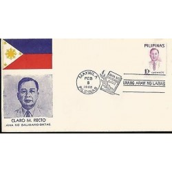 E)1969 PHILIPPINES, CLARO M. RECTO, POLITICAL, FDC