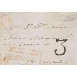 G)1849 GUATEMALA, 3 REALES MARK, FRANQUEADO EN GUATEMALA RED BOX, FRONT COVER, F
