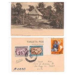 E) 1960 GUATEMALA CHACRA EN ESCUINTLA, SIMON BOLIVAR, AEREO TO USA, POST CARD